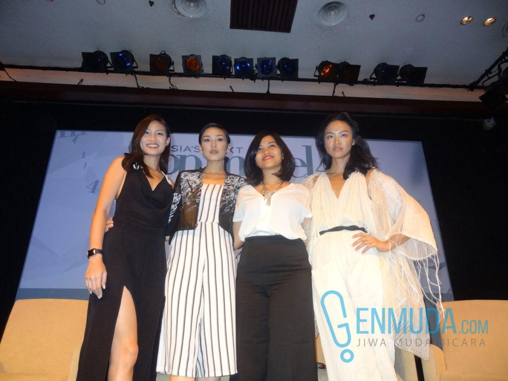 Patricia Gunawan, Aldilla Zahraa, Tiara Sugiyono, dan Kelly Tandiono di acara jumpa pers AsNTM 4 di XXI Lounge Plaza Senayan, Kamis (3/3) (Foto: Genmuda.com/2016 Gabby)