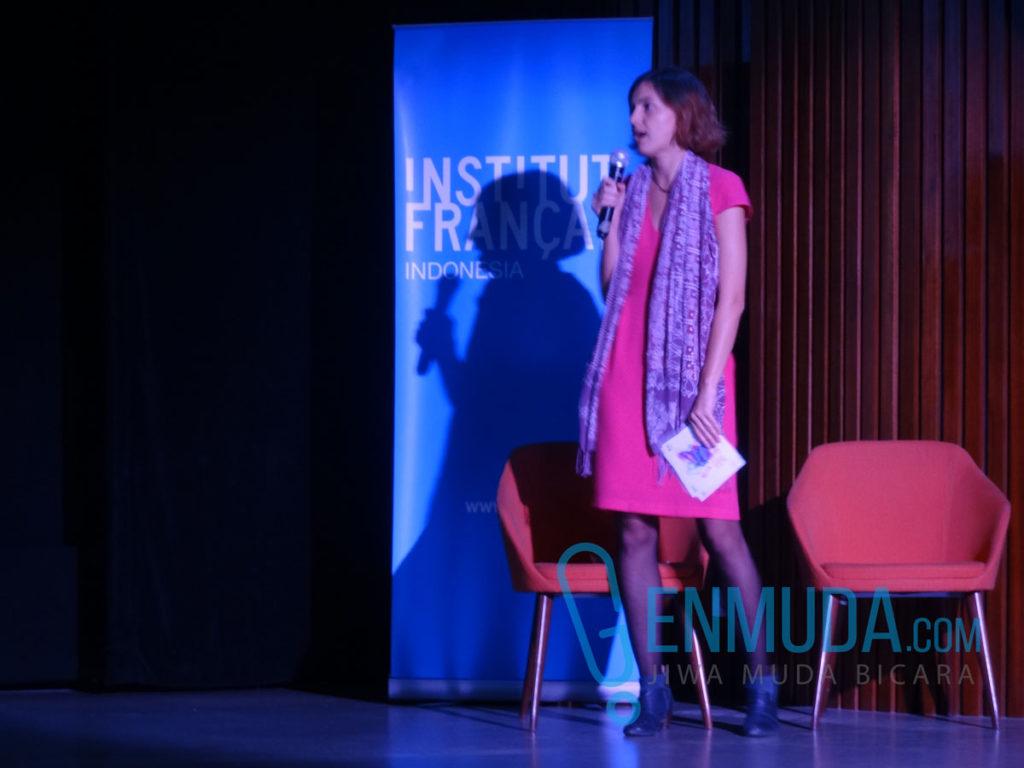 Elisabeth Simonet, Festival Programmer Printemps Français 2016, di acara konferensi pers di Auditorium IFI Jakarta, Rabu (20/4) (Foto: Genmuda.com/2016 Gabby)