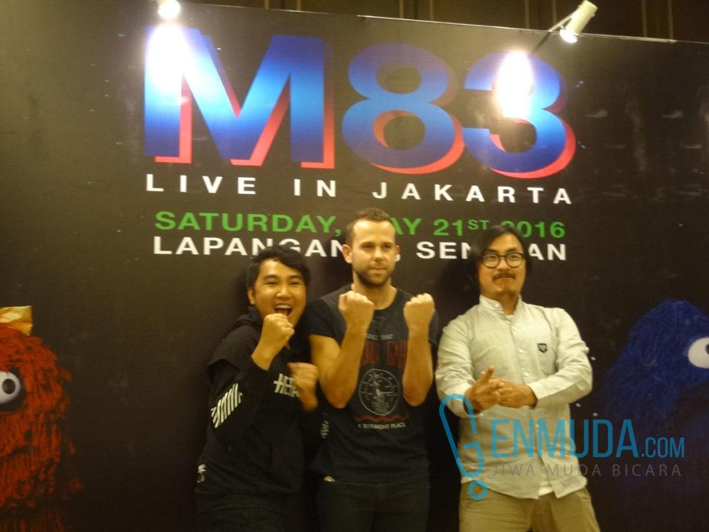 Bottlesmoker bersama Anthony Gonzalez di konferensi pers jelang konser M83 di kawasan Senayan, Jakarta, Jumat (20/5) (Foto: Genmuda.com/2016 Gabby)