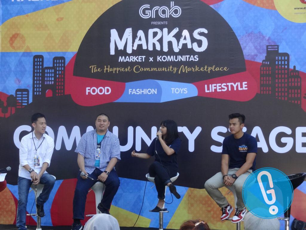 Andrew Darwis, Ken Dean, Naya Anindita, dan Dion Wiyoko saat bincang-bincang soal film 'Sundul Gan' di MARKAS hari pertama di Area Hall Basket Senayan, Jakarta, Sabtu (28/5) (Foto: Genmuda.com/2016 Gabby)