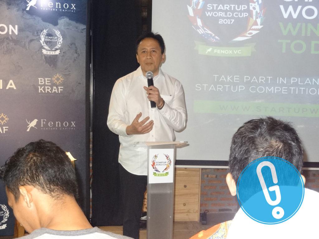 Kepala Badan Ekonomi Kreatif Indonesia, Triawan Munaf di acara peluncuran Startup World Cup 2017 di Jakarta, Jumat (22/7) (Foto: Genmuda.com/2016 Gabby)